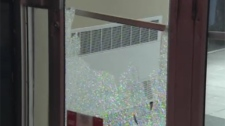 Windows at several banks, a bookstore, and other shops were smashed during Wednesday's riot (April 25, 2012)
