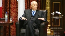 Former Israeli President Shimon Peres visited Montreal on the fourth day of his Canadian tour.