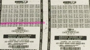 Joel Ifergan's controversial Super 7 lottery ticket (left) is shown next to the one printed seconds earlier.
