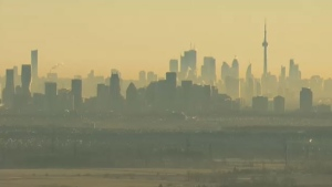 The Toronto skyline is seen from the CTV News chopper at Pearson International Airport on Wednesday, Jan. 28, 2015.