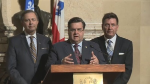 Mayor Denis Coderre, with Labour Minister Sam Hamad and Municipal Affairs Minister Pierre Moreau, made the announcement at city hall March 5, 2015,
