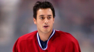 Montreal Canadiens Mike Ribeiro during the pre-game warm-up Tuesday, Sept. 23, 2003. (CP PHOTO/Paul Chiasson)