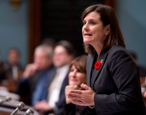 Quebec Justice Minister Stephanie Vallee during question period on October 30, 2014 at the legislature in Quebec City. (Jacques Boissinot / The Canadian Press)