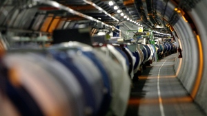 The LHC (large hadron collider) in its tunnel at CERN near Geneva, Switzerland. (AP / Martial Trezzini)