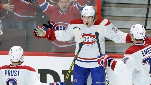 Montreal Canadiens forward Dale Weise celebrates a goal against the Ottawa Senators, on April 19, 2015. (THE CANADIAN PRESS / Sean Kilpatrick)