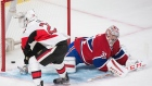 Ottawa Senators' Erik Condra (22) scores on Montreal Canadiens goaltender Carey Price during third period of Game 5 NHL first round playoff hockey action in Montreal, Friday, April 24, 2015. (Graham Hughes / THE CANADIAN PRESS)