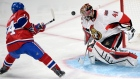 Ottawa Senators goalie Craig Anderson (41) stops Montreal Canadiens centre Tomas Plekanec (14) during second period of Game 5 NHL first round playoff hockey action on April 24, 2015 in Montreal. (Ryan Remiorz / The Canadian Press)