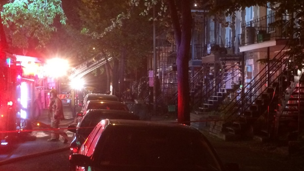 A fire early Monday forced about 15 people out of their homes. The blaze began in sheds behind the building on Desjardins Ave. in the Mercier—Hochelaga Maisonneuve borough.