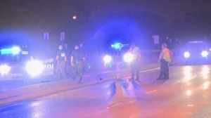 Police are seen at the scene of an overnight car chase in Longueuil early Wednesday morning. (CTV Montreal)
