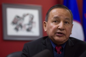 Grand Chief Stewart Phillip, president of the Union of B.C. Indian Chiefs, during a news conference in Vancouver, B.C., on February 3, 2015. (Darryl Dyck / The Canadian Press)