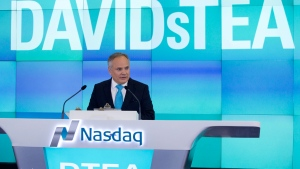 Sylvain Toutant, President and CEO of DavidsTea, at the company's IPO on June 5, 2015. (AP / Mark Lennihan)