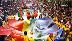 Thousands fill the streets to take part in Toronto's annual pride parade. Sunday, June 28, 2015.