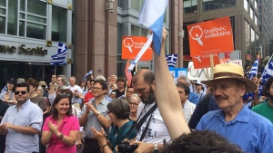 Greek Montrealers rallied Saturday to push for a 'no' vote in the bailout referendum.