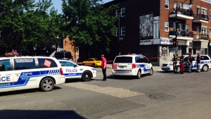 The woman was stabbed on Ste. Catherine St. at Aird Ave (photo: CTV Montreal / JL Boulch)