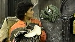 Sonia Manzano appears on Sesame Street with Oscar the Grouch. (PBS)