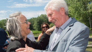 Bloc Quebecois leader Gilles Duceppe greets a supporter during a federal election campaign stop in Vaudreuil-Dorion, Que., on August 4, 2015. (THE CANADIAN PRESS / Graham Hughes)