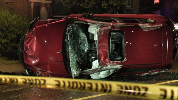 The driver of this car left Viau and St. Zotique before police arrived (CTV Montreal/Cosmo Santamaria)