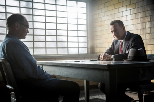 """This image released by DreamWorks II Distribution Co., LLC and Twentieth Century Fox Film Corporation shows Tom Hanks, right, and Mark Rylance in a scene from """"Bridge of Spies."""" Steven Spielberg's Cold War thriller will premiere at the 53rd New York Film Festival. (Jaap Buitendijk/DreamWorks II Distribution Co., LLC and Twentieth Century Fox Film Corporation)"""