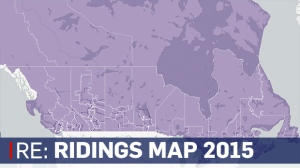 Ridings map of Canada for Election 2015