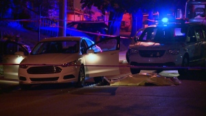 A man was shot and killed while sitting in a car on Fortin St. in Montreal North on Thursday, Sept. 3, 2015 (CTV Montreal/Cosmo Santamaria)