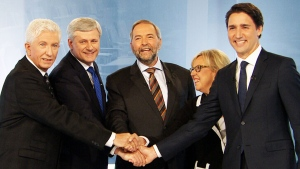 The five federal party leaders shake hands before the French-language leaders' debate in Montreal on Sept. 24, 2015