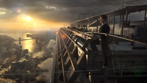 In this image released by Sony Pictures, Joseph Gordon-Levitt portrays Philippe Petite in a scene from, 'The Walk.' (Sony Pictures via AP)