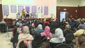 While four federal leaders debated over the airwaves Friday night, a group of South Shore candidates were to speaking to their local Muslim community.