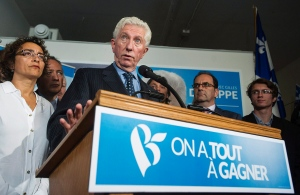 Bloc Quebecois leader Gilles Duceppe speaks at a news conference where he spoke about the Trans-Pacific Partnership deal during a federal election campaign stop in Montreal, Que., on October 5, 2015. (Graham Hughes / The Canadian Press)