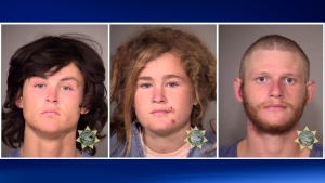Multnomah County Sheriff's Office photos show the three suspects who were arrested Wednesday, Oct. 7, 2015, in Portland, Ore., in the killing of Steve Carter, a tantra yoga teacher, on a hiking trail in Marin County, Calif. From left are Sean Michael Angold, 24; Lila Scott Allgood, 19; and Morrison Haze Lampley, 23. A hiker found Carter's body on Monday. (Multnomah County Sheriff's Office/Portland police via AP)