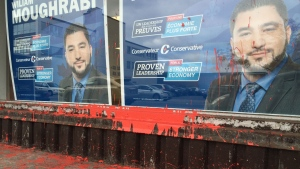 The office of William Moughrabi, the Conservative candidate for Ahuntsic-Cartierville, was vandalized with red paint this week. (Photo via Jason Clarke/CTV Montrea)