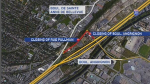 The Angrignon Blvd. overpass is closing for four weeks, starting at one minute after midnight on Oct. 20, 2015