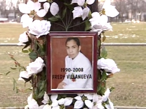 A memorial marks the locations where Montreal teenager Freddy Villanueva died in August, 2008. A police investigation concluded the officer who fired his gun, acted with justified force.