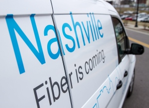 New Google Fiber service is advertised on a van in Nashville, Tenn., on Jan. 27, 2015. (AP / Erik Schelzig)