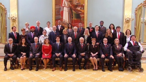 Prime Minister Justin Trudeau, Gov. Gen. David Johnston and cabinet ministers pose for a photo after a swearing in ceremony at Rideau Hall in Ottawa, November 4, 2015.