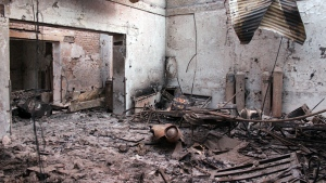The charred remains of the Doctors Without Borders hospital is seen after being hit by a U.S. airstrike in Kunduz, Afghanistan on Oct. 16, 2015. (AP / Najim Rahim)