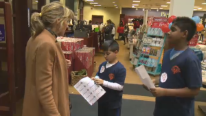Students at Springdale Elementary School were at the Chapters in Pointe Claire raising money for their school in an unusual way Thursday.