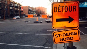St. Denis street was closed between Rosemont Blvd. and St. Gregoire St. for emergency roadwork on Nov. 30, 2015 (CTV Montreal/JL Boulch)