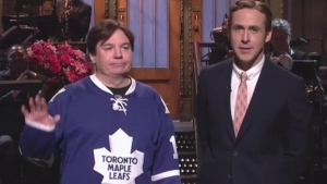 Canadians Mike Myers (left) and Ryan Gosling appear on 'Saturday Night Live' on Dec. 5, 2015. (Twitter / Mediaite)