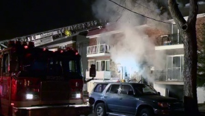 Fire broke out in a duplex on Orleans Ave. on Friday Feb. 5, 2016 (CTV Montreal/Cosmo Santamaria)