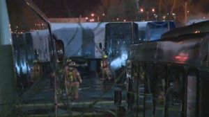 Police say they believe a fire in Dorval on Friday night that damaged six trucks was caused by electrical problems in one of the vehicles.