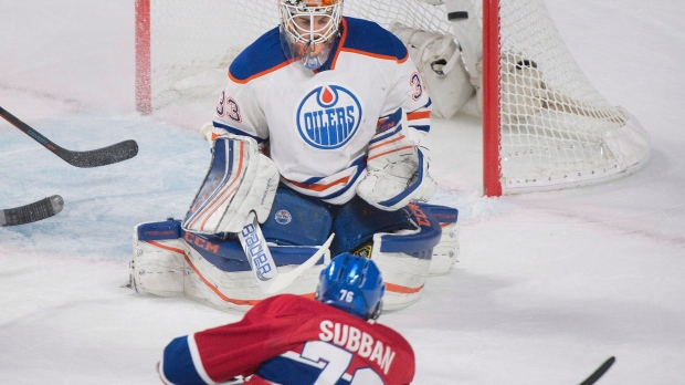 Montreal Canadiens' P.K. Subban scores on Edmonton Oilers goaltender Cam Talbot during second period NHL hockey action in Montreal, Saturday, February 6, 2016. THE CANADIAN PRESS/Graham Hughes