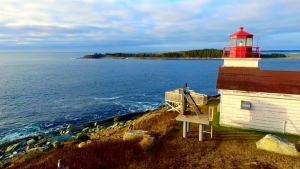 Drone footage from Larry Peyton and Cory Webb shows a lighthouse in Nova Scotia.