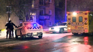 Longueuil police arrested two men who broke into a home on Goyette St. on Feb. 9, 2016 (CTV Montreal/Cosmo Santamaria)