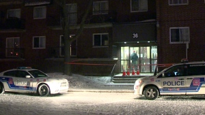 A woman was stabbed in an apartment building on Brunswick Blvd. in Dollard Des Ormeaux (CTV Montreal/Cosmo Santamaria)