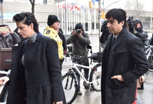 Former CBC radio host Jian Ghomeshi and his lawyer Marie Henein arrive at a Toronto court on Wednesday, Feb. 10, 2016. (Nathan Denette / THE CANADIAN PRESS)