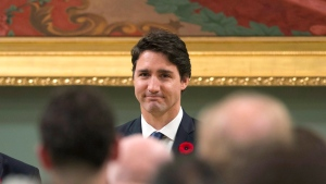 Prime Minister Justin Trudeau receives a standing ovation after he was sworn in as prime minister at Rideau Hall in Ottawa on Wednesday, Nov. 4, 2015. THE CANADIAN PRESS/Justin Tang