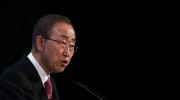 United Nations Secretary General Ban Ki-moon addresses delegates during the fourth 'Thermatic Pledging Session', in London, Thursday, Feb. 4, 2016, during the donor conference 'Supporting Syria & The Region'. Leaders and diplomats from 70 countries are meeting in London to pledge billions in aid to millions of Syrians displaced by war and help slow the chaotic exodus of refugees to Europe. (Dan Kitwood, Pool Photo via AP)