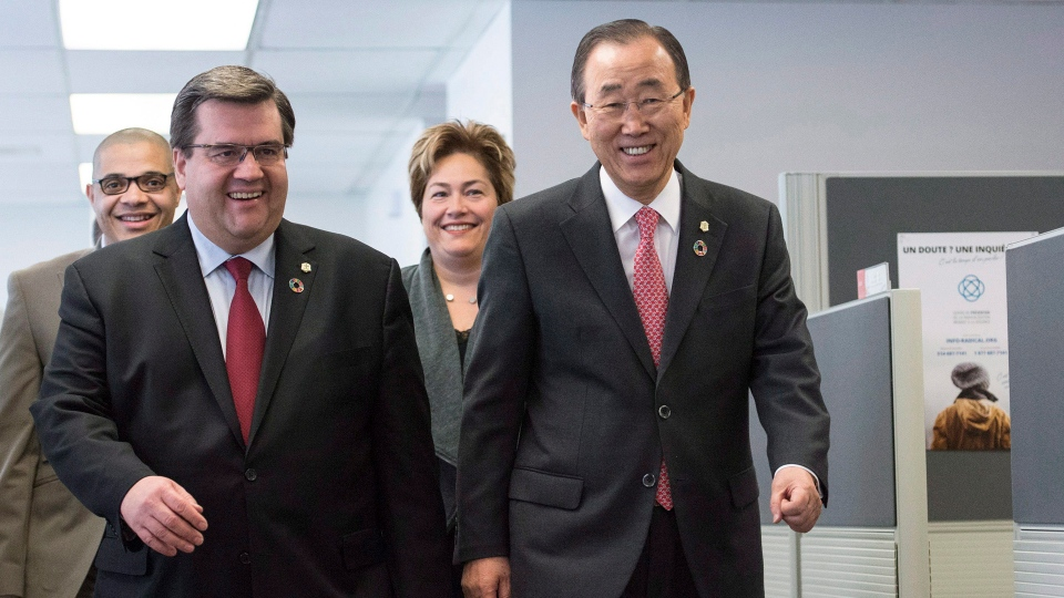 Herman Deparice-Okomba, head of Montreal's anti-radicalization centre, Montreal Mayor Denis Coderre, executive committee member Anie Samson and United Nations Secretary General Ban Ki-moon talk as they tour the centre in Montreal, Saturday, February 13, 2016. THE CANADIAN PRESS/Graham Hughes