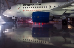 A Bombardier Series jet is seen in a hangar in Montreal, Wednesday, Feb. 17, 2016. (Paul Chiasson / THE CANADIAN PRESS)