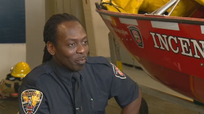 Alberto Syllion is one of nine black firefighters in Montreal.